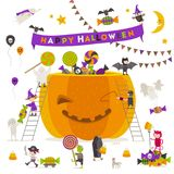 Halloween illustration. Group of active halloween characters around a giant pumpkin. Stock Images