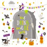 Halloween illustration. Group of active halloween characters around a giant tombstone. Stock Photo