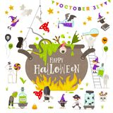 Halloween illustration. Group of active halloween characters around a giant witch pot. Stock Photography