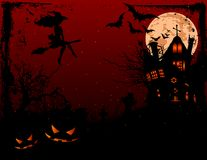 Halloween illustration of haunted house. In scary dark night Royalty Free Stock Photos