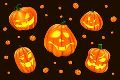 Halloween illustration with isolated set of 5 big halloween pumpkin. royalty free illustration