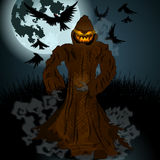 Halloween illustration with Jack O'Lantern, full Moon and crows Royalty Free Stock Photos