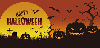 Halloween illustration, jack o lantern in the twilight Stock Photography