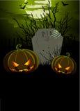 Halloween illustration med tombstonen och pumpor royaltyfri illustrationer