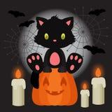 Halloween-Illustration mit dem schwarzen Kätzchen, das auf dem Kürbis sitzt Lizenzfreies Stockfoto