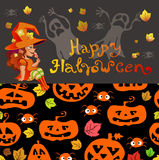 Halloween-Illustration mit Hexe auf Kürbislaterne Lizenzfreies Stockfoto