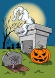 Halloween-Illustration mit weißem Geist und Kürbis Auf lagerbild Lizenzfreie Stockfotografie