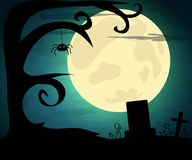 Halloween illustration with moon and dark landscape vector illustration