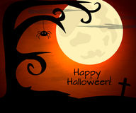 Halloween illustration with moon and dark landscape royalty free illustration