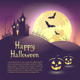 Halloween illustration of mysterious night landscape with castle and full moon. Template for your design with space for text. Stock Photos