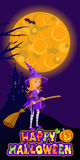 Halloween illustration of mysterious night landscape with castle moon and witch. Template for your design. Vector Royalty Free Stock Photo