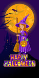 Halloween illustration of mysterious night landscape with castle moon and witch. Template for your design. Vector Stock Photography