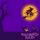 Halloween illustration of mysterious night landscape with witch fly on broom castle and moon. Template for your design.  Royalty Free Stock Image