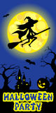 Halloween illustration of mysterious night landscape with witch fly on broom castle and moon. Template for your design Royalty Free Stock Images