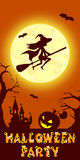 Halloween illustration of mysterious night landscape with witch fly on broom castle and moon. Template for your design. Halloween illustration of mysterious Stock Photo