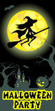 Halloween illustration of mysterious night landscape with witch fly on broom castle and moon. Vector drawing. Stock Photography