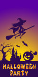 Halloween illustration of mysterious night landscape with witch fly on broom and castle. Template for your design Royalty Free Stock Photo