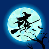 Halloween illustration of mysterious night sky with witch fly on broom and moon. Template for your design. Vector drawing. Stock Image