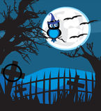 Halloween illustration owl on moon background. Royalty Free Stock Images