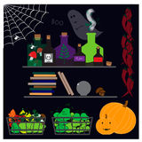 Halloween illustration with with potion, old books and other elements Stock Photography