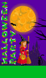 Halloween illustration for print flyer greeting with castle moon and witch. Template  your design. Vector drawing. Stock Photos
