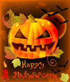 Halloween illustration with pumpkin Royalty Free Stock Photos