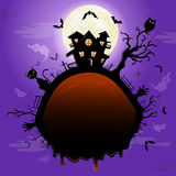 Halloween illustration with pumpkin. Stock Image