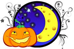 Halloween illustration with pumpkin and cheese moo Royalty Free Stock Photography
