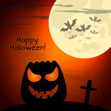 Halloween  illustration with pumpkin and dark landscape Royalty Free Stock Photography