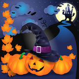 Halloween illustration with pumpkin, hat, leaves and castle Stock Photo