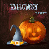 Halloween illustration with pumpkin and magic hat.  Royalty Free Stock Images