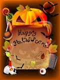 Halloween illustration with pumpkin and old paper Stock Photography