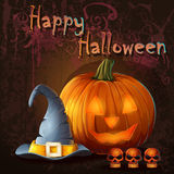 Halloween illustration with pumpkin, skull, cap Stock Photo