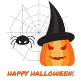 Halloween  illustration with pumpkin and spider Stock Photo