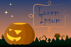 Halloween  illustration with pumpkin and text place. Royalty Free Stock Image