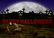 Halloween illustration with pumpkin and zombie Stock Photos