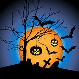 Halloween illustration with pumpkins Stock Images