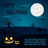 Halloween illustration of pumpkins at cemetery under full moon night with text placeholders Royalty Free Stock Images