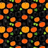 Halloween. Illustration with pumpkins. Flat, seamless texture with Halloween pumpkins. Usable as background, for postcards, cards, Royalty Free Stock Images