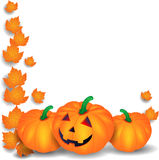 Halloween illustration with pumpkins and leaves Royalty Free Stock Photo