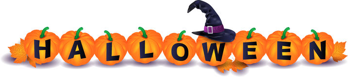 Halloween illustration with pumpkins and witch& x27;s hat Stock Photo