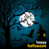 Halloween illustration scene. With moon, bat and tree vector illustration