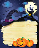 Halloween illustration with signboard Stock Photo