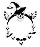 Halloween illustration with skull and bats Stock Image