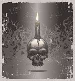 Halloween illustration with skull and candle. Halloween illustration with hand drawn skull and candle Stock Image