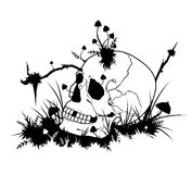 Halloween illustration with skull and mushrooms Stock Images