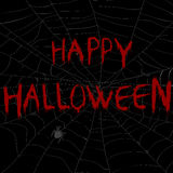 Halloween illustration with spider web in the dark Royalty Free Stock Photo
