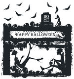 Halloween illustration with stylish silhouettes. Stylish black and white illustration of vampire and scared women. Woman in horror at the Halloween party with a Stock Images