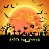Halloween illustration with tomb and bats Stock Photos