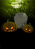 Halloween Illustration with Tombstone and Pumpkins Stock Photography